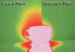 Thermal image of a hot cup of coffie in front of a low-e and standard wall